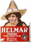 Helmar Cigarettes Porcelain Flange Sign
