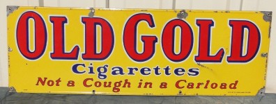 Old Gold Cigarettes Not a Cough in a Carload Porcelain Sign