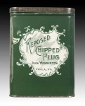 Reposed Chipped Plug Vertical Pocket Advertising Tin