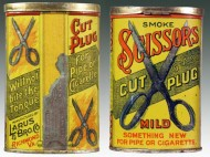Scissors Cut Plug Mild Tobacco Vertical Pocket Advertising Tin