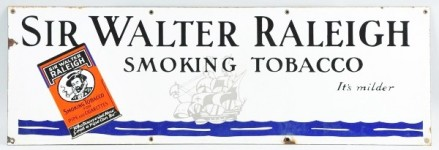 Sir Walter Raleigh Smoking Tobacco Porcelain Sign