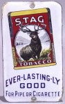 Stag Tobacco Porcelain Advertising Door Push Sign